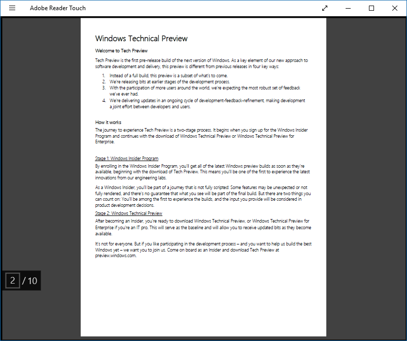 Lectores PDF gratuitos para Windows 10 Adobe Reader Touch
