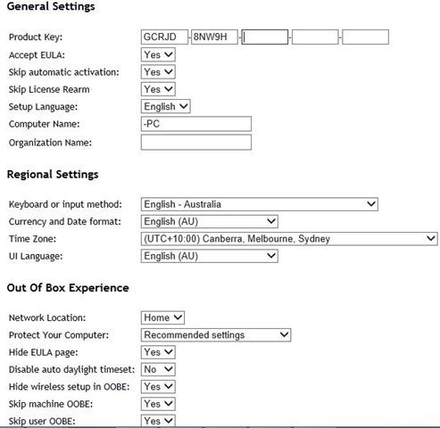 Generar archivo xml de Windows Unattend en línea