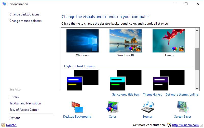 Obtener ventana de personalización en Windows 10