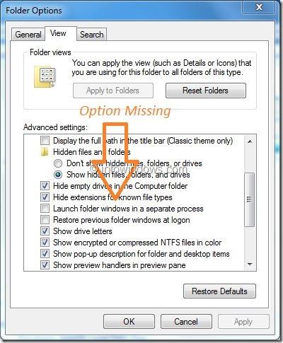 Ocultar opciones de archivos del sistema operativo protegido