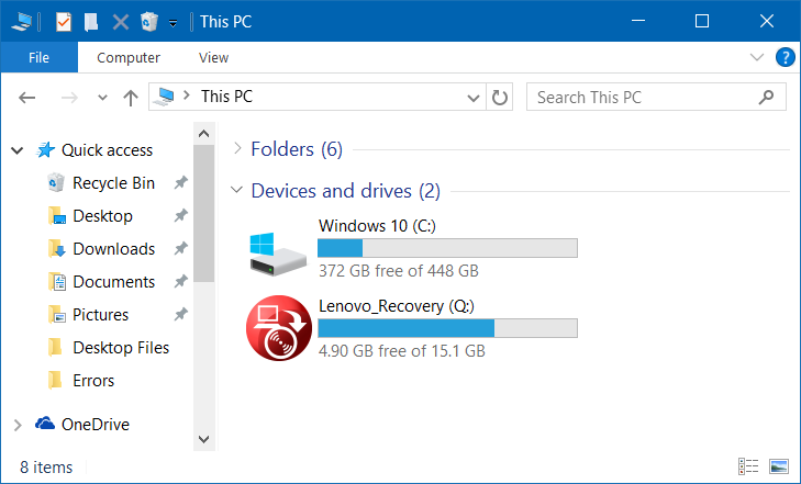 Ocultar partición de recuperación en Windows 10