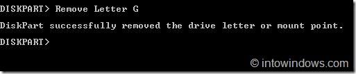 Ocultar unidades mediante el símbolo del sistema en Windows 7 step3