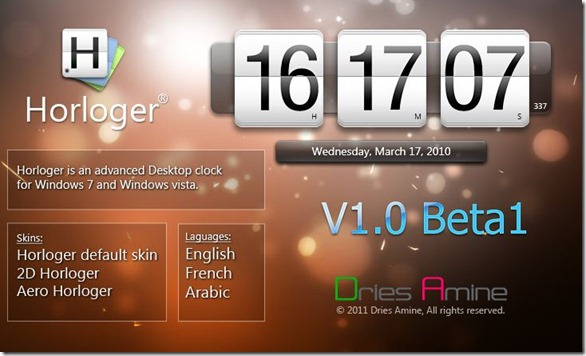 Horlonger Clock For Vista and Windows 7