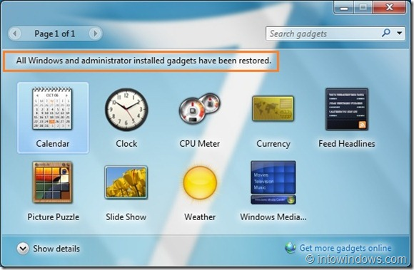Cómo reinstalar gadgets desinstalados en Windows 7 step5