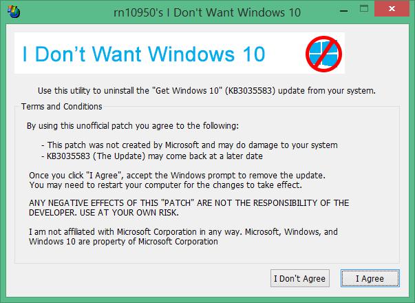 No quiero la herramienta Windows 10