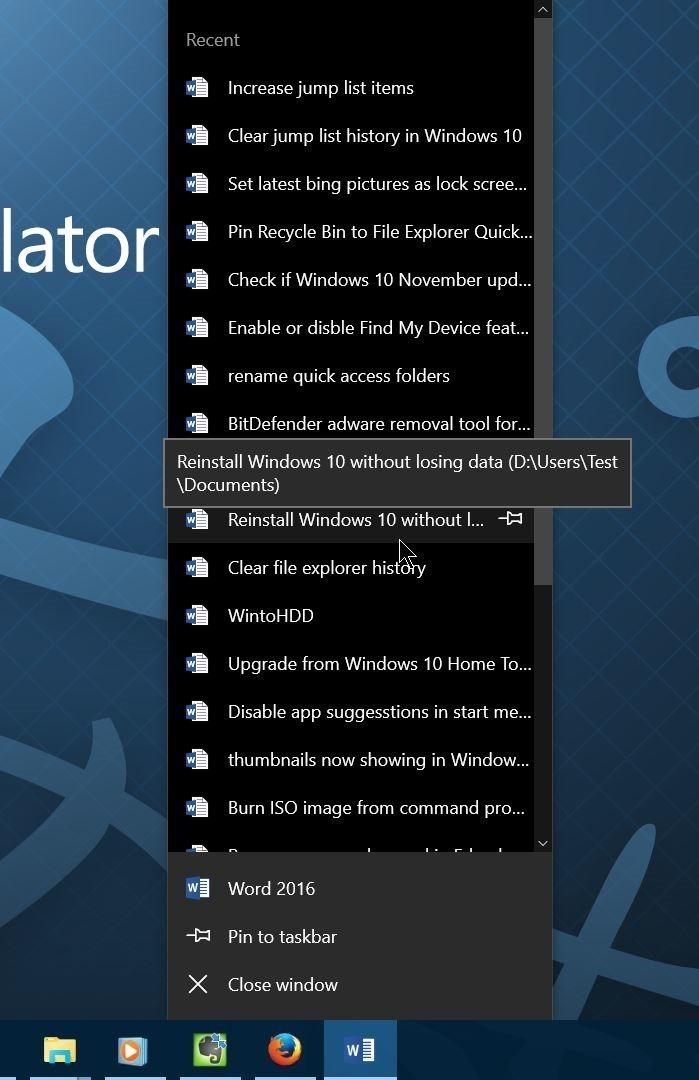 Aumentar el número de elementos en las listas de salto en Windows 10 step01