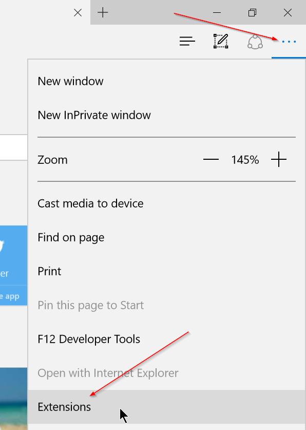 Instalar extensiones de borde en Windows 10 Paso 1