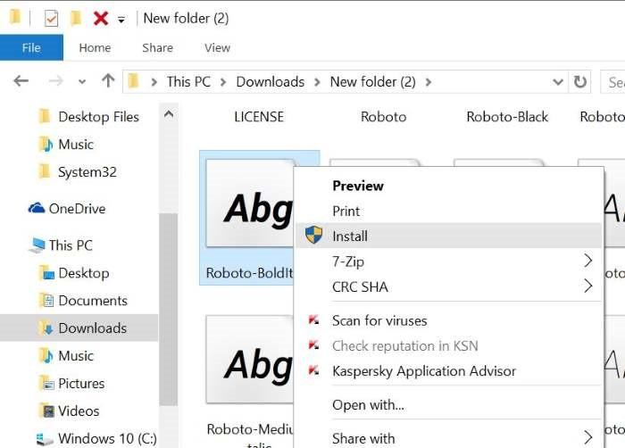 Instalar fuentes en Windows 10 pic2