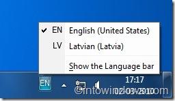 Barra de idioma en la barra de tareas de Windows 7