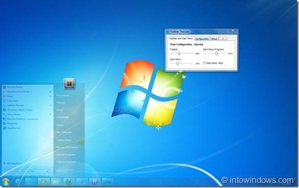 Make Windows 7 Taskbar And Start Menu Transparent