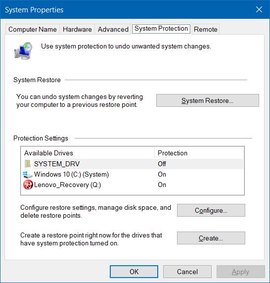 Hacer que la restauración del sistema use menos espacio en disco en Windows 10 step3.1