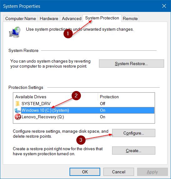 Hacer que la restauración del sistema use menos espacio en disco en Windows 10 step3