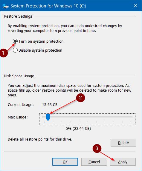 Hacer que la restauración del sistema use menos espacio en disco en Windows 10 step4