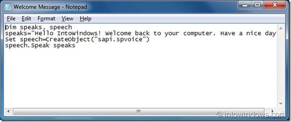 Hacer que Windows 7 le dé la bienvenida con un mensaje de voz personalizado paso 2