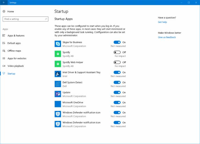 Administrar aplicaciones de inicio de Windows 10 en configuración