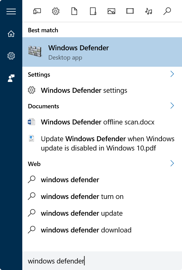 Actualizar manualmente Windows Defender en Windows 10 Paso 1