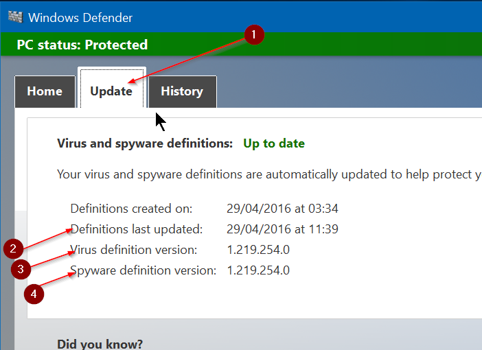 Actualizar manualmente Windows Defender en Windows 10 Step2