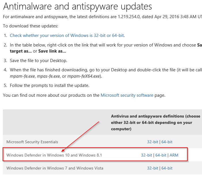 Actualizar manualmente Windows Defender en Windows 10 Step3