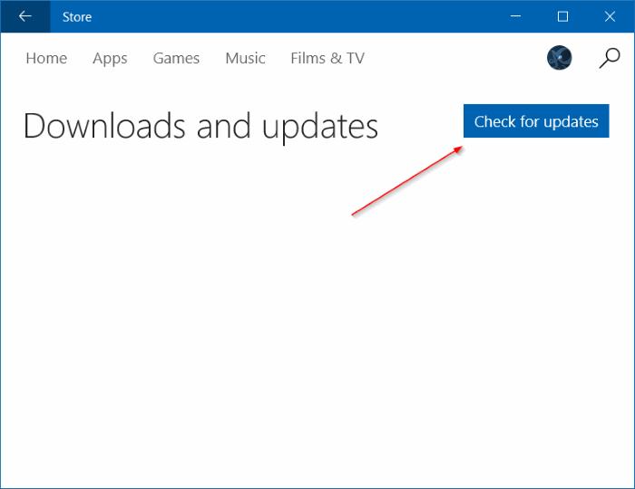 Actualizar manualmente las aplicaciones instaladas desde Store en Windows 10 Paso 3