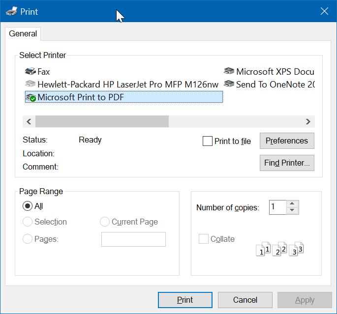 Microsoft Print to PDF in Windows 10