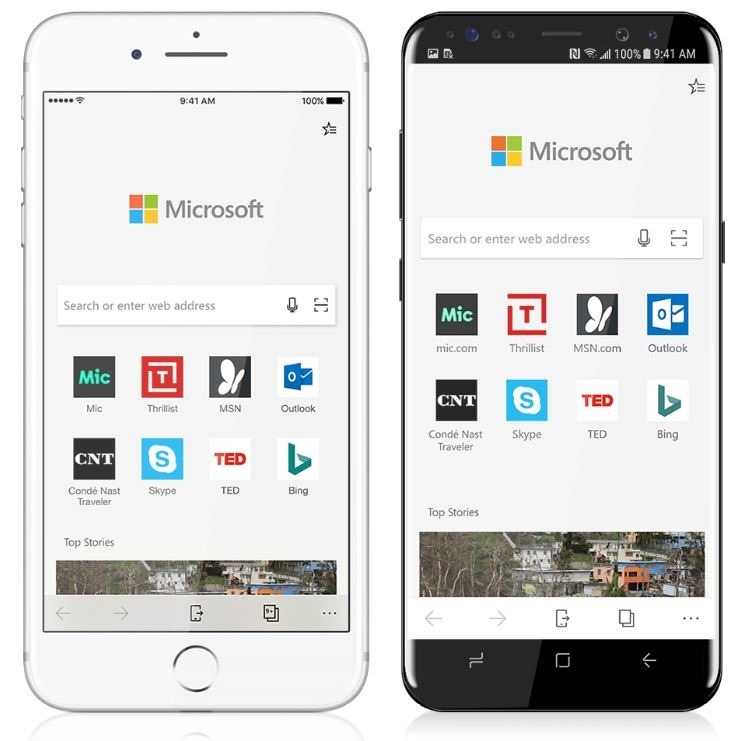 Microsoft edge for ios android OS