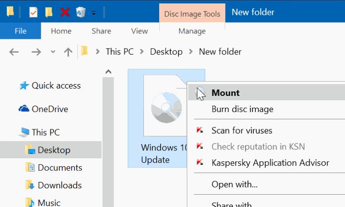 Montar archivo ISO en Windows 10/8