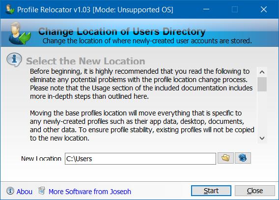 Mover la carpeta de perfil de usuario a otra unidad en Windows 10 step2