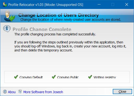 Mover carpeta de perfil de usuario a otra unidad en Windows 10 step4