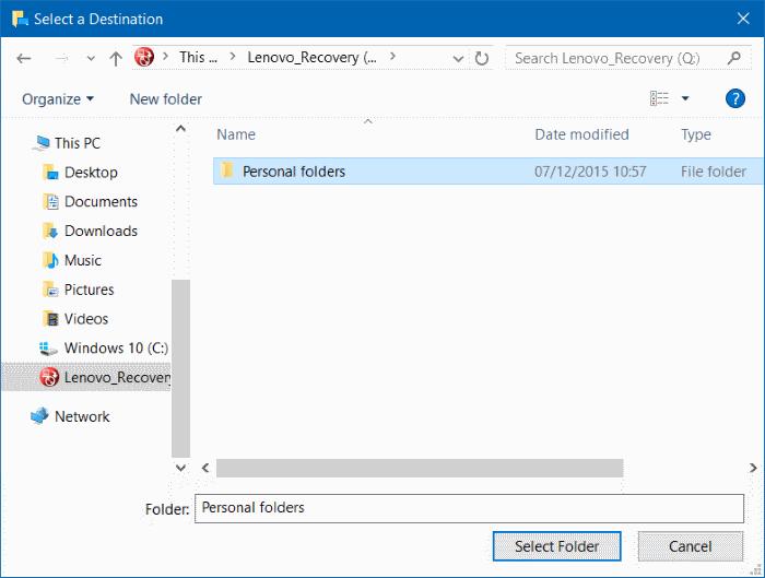 Mover descargas y carpetas de escritorio a otra unidad en Windows 10 step4
