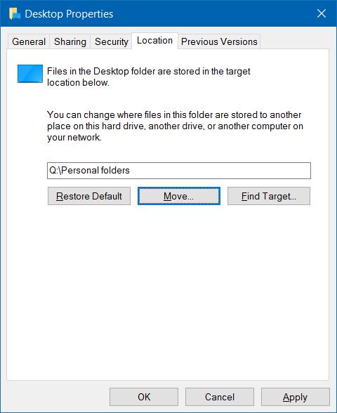 Mover descargas y carpetas de escritorio a otra unidad en Windows 10 step5
