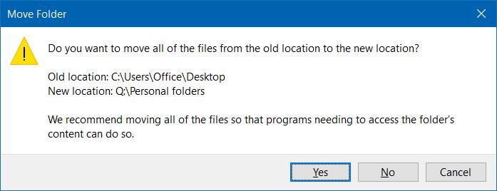 Mover descargas y carpetas de escritorio a otra unidad en Windows 10 step6