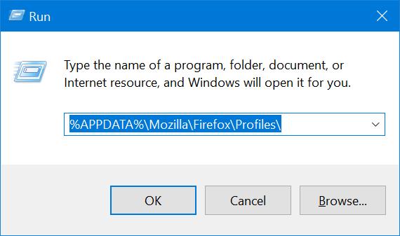Ubicación del perfil de Mozilla Firefox en Windows 10 pic1