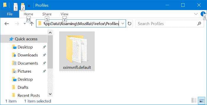 Ubicación del perfil de Mozilla Firefox en Windows 10 pic2
