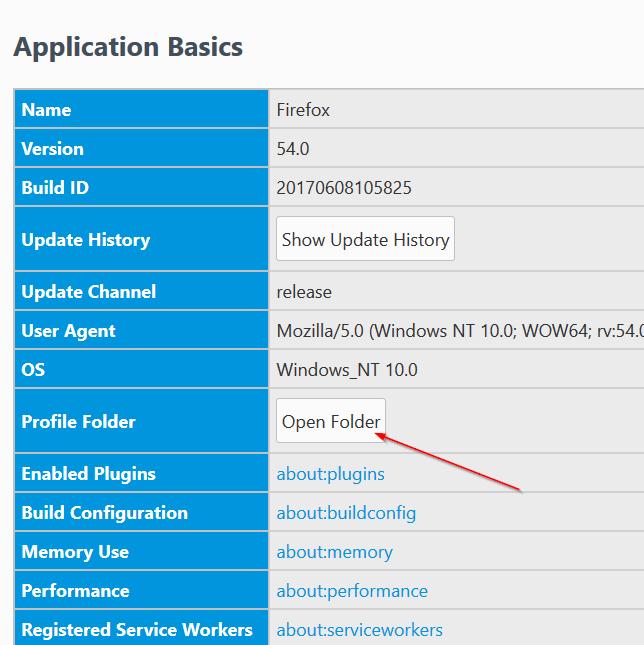 Ubicación del perfil de Mozilla Firefox en Windows 10 pic4
