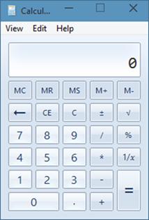 Calculadora antigua en Windows 10