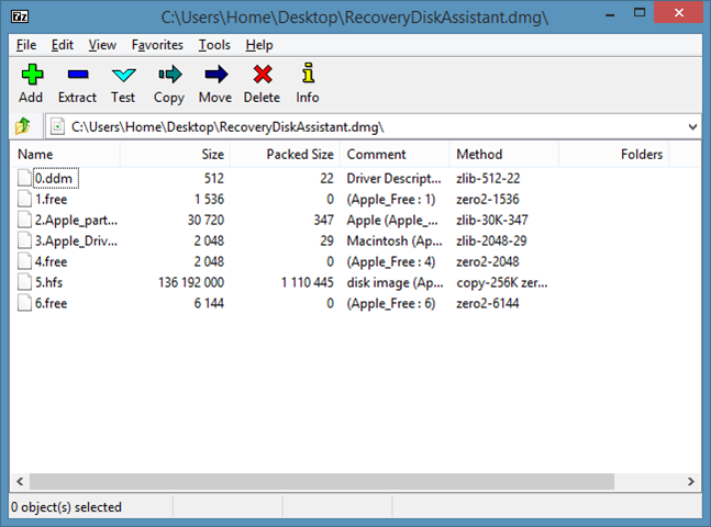 Open DMG Files In Windows using 7zip