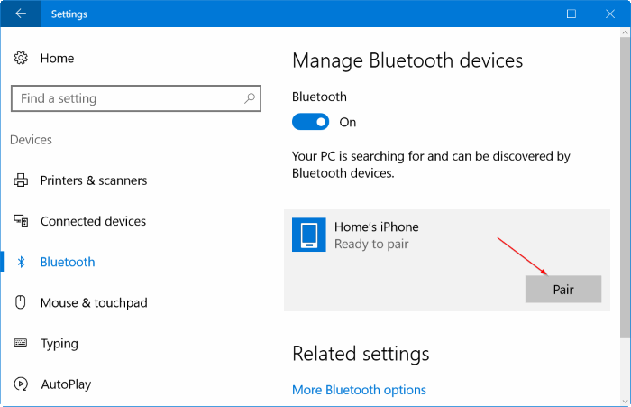 Emparejar iphone con Windows 10 vía Bluetooth (02)