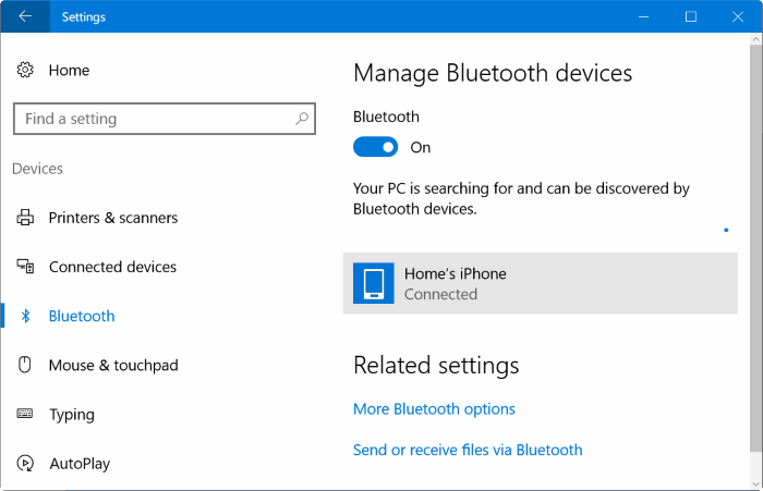 Emparejar iphone con Windows 10 vía Bluetooth (1)