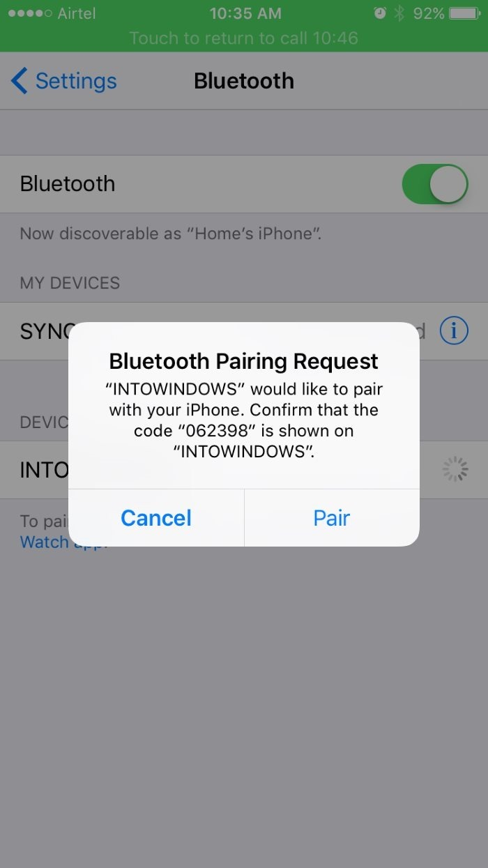 Emparejar iphone con Windows 10 mediante Bluetooth pic4