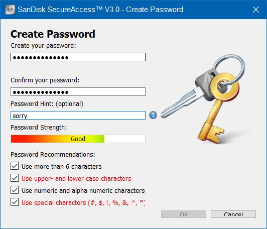 Proteger con contraseña la unidad USB SanDisk en Windows step7