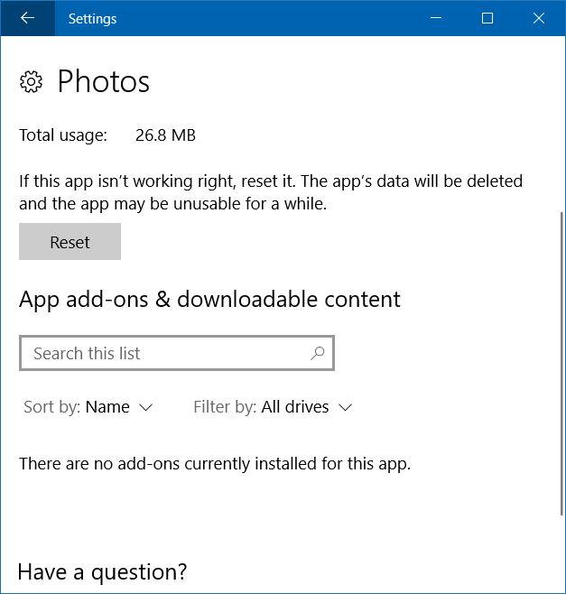 photos app not opening in windows 10