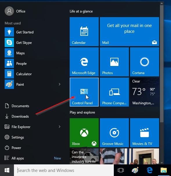 Pin Control Panel to Windows 10 Start menu