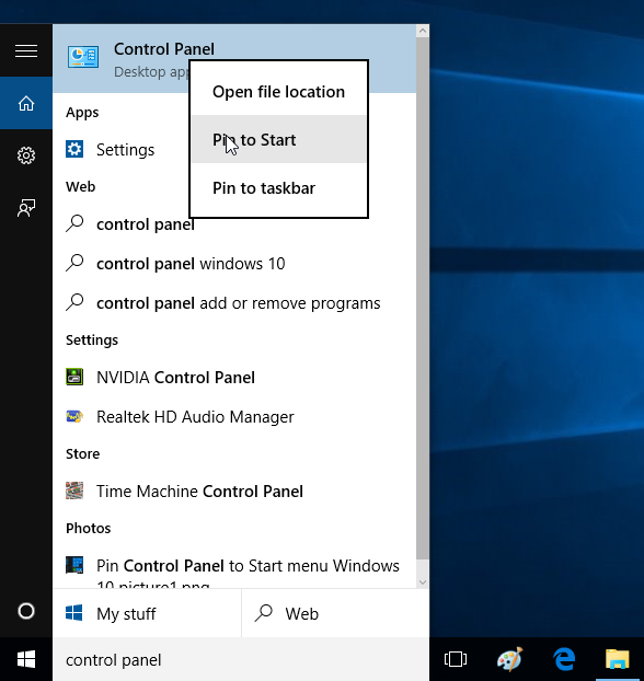 Pin Control Panel to Start menu Windows 10 picture2