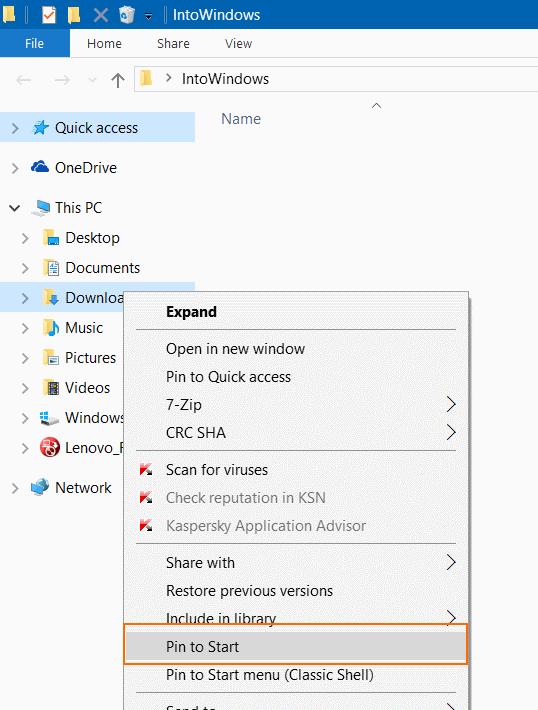 Pin Carpeta de descargas a la barra de tareas e iniciar pic4