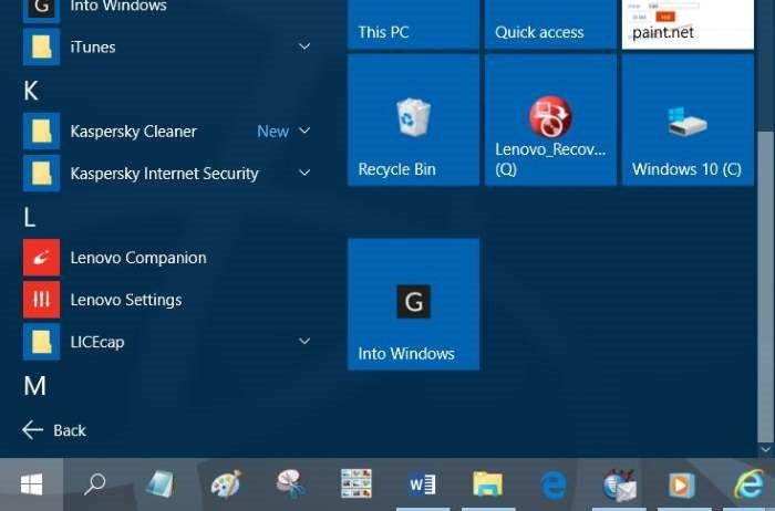 Clavar sitios web al menú Inicio en Windows 10 step8