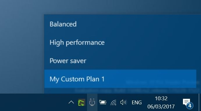 Power Plan Switcher cambia el plan de energía de la barra de tareas en Windows 10 pic1