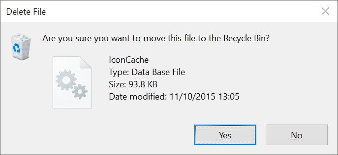 Reconstruir el paso 5 de la caché de iconos de Windows 10