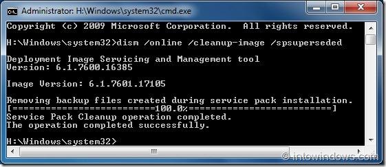 Recuperar el espacio perdido en disco después de instalar SP1 para Windows 7 step5