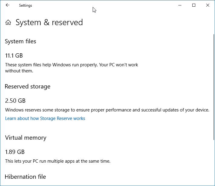 Reducir el tamaño del almacenamiento reservado en Windows 10