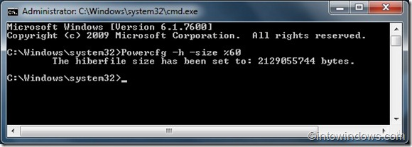 Reducir el tamaño del archivo Hiberfile en la guía de Windows 7